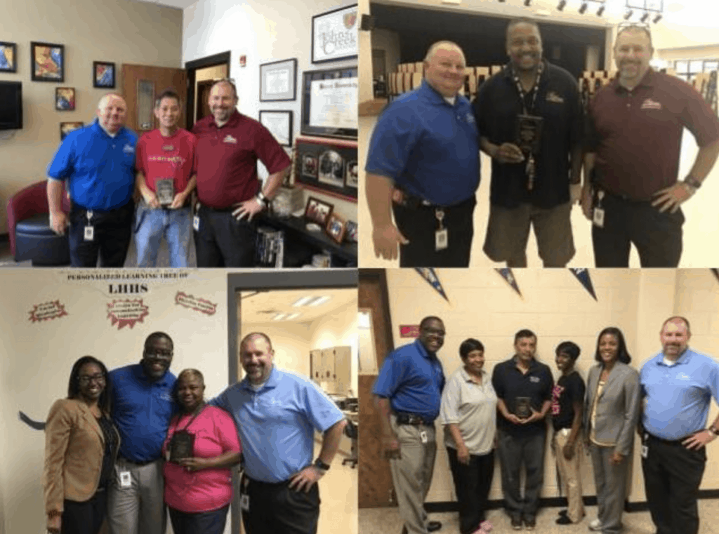 Eric flint shares pics from one of this employee of the month presentations